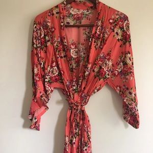 Women's Floral Knee-Length Robe- ONE SIZE